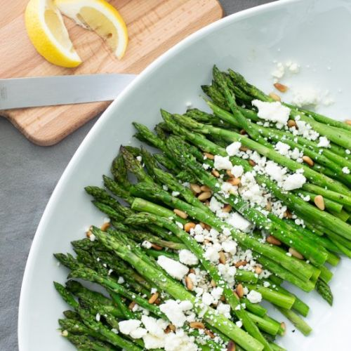 Asparagus with Feta and Pine Nuts