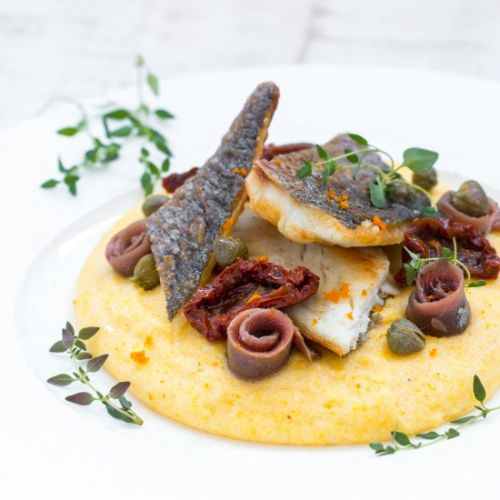 Sea bream on polenta mousse