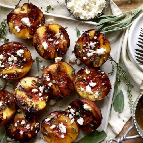 Grilled peaches and queso fresco