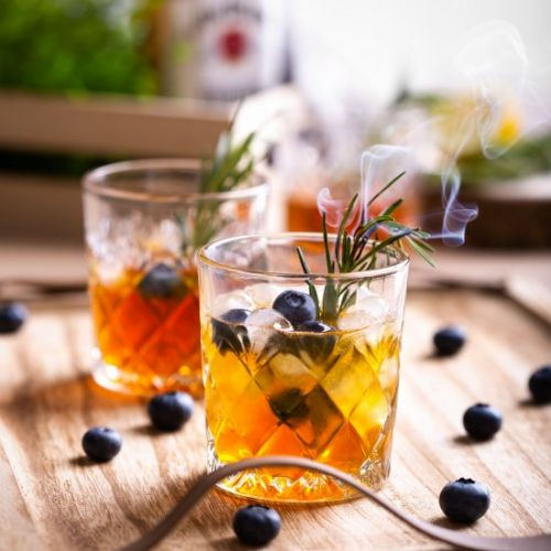 Summer cocktail with blueberries