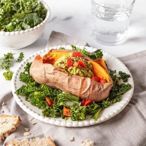 Stuffed sweet potatoes with avocado