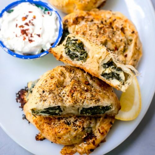 Round Borek with Wilted Greens