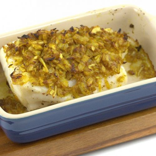 Baked Cod & Onion Curry and Ginger