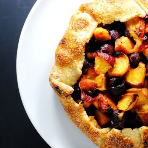 Peach cherry crostata