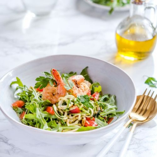 Zucchini noodles with shrimps