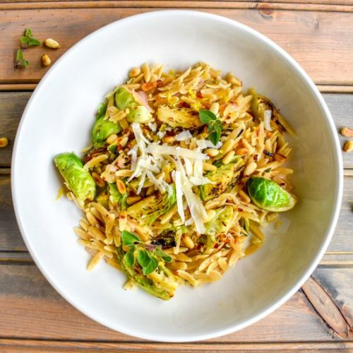 Lemon Orzo with Brussels Sprouts