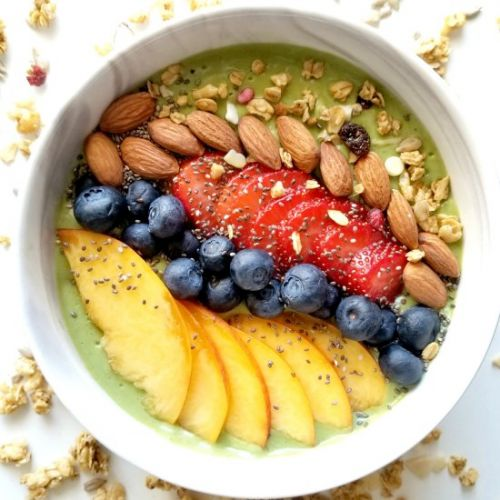Green Peach Smoothie Bowl