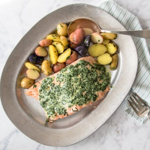 Oven Poached Salmon Spinach Sauce