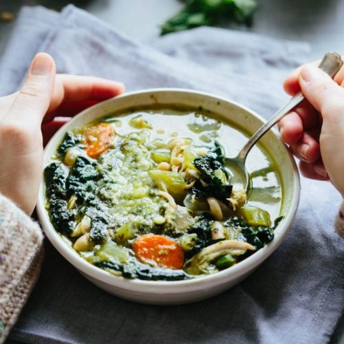 Pesto Chicken Kale White Bean Soup