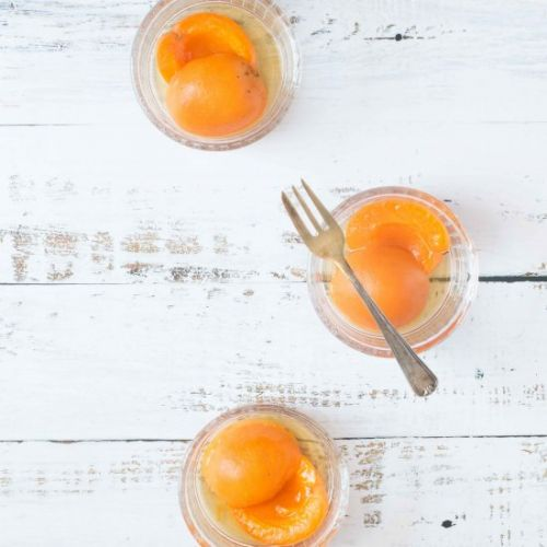 Apricots poached in chamomile tea
