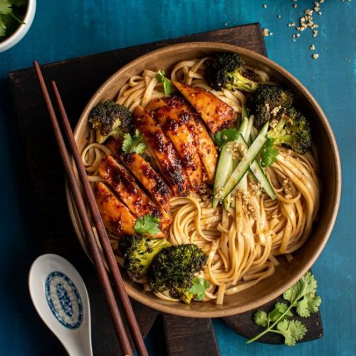 Sticky roasted chicken with noodles