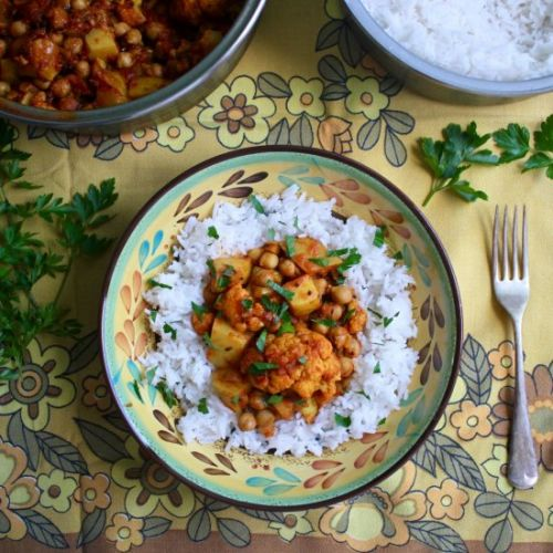 Chickpea, potato, cauliflower curry