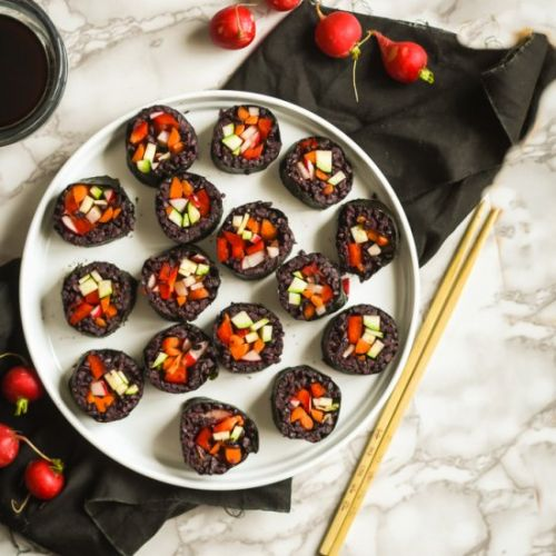 Black Rice Vegetable Sushi Rolls