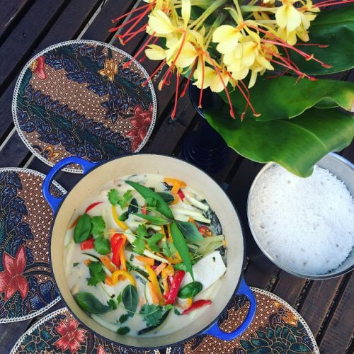 Coconut tofu and vegetables strips with Eastern herbs