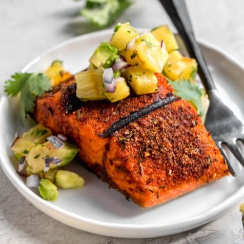 Salmon with pineapple-avocado salsa
