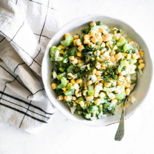 Vegan Corn Salad with Yogurt Sauce