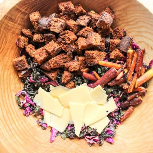 Purple kale and cabbage salad