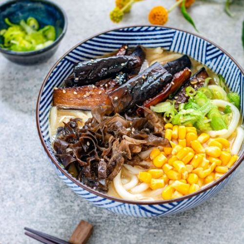 Miso udon with teriyaki aubergine