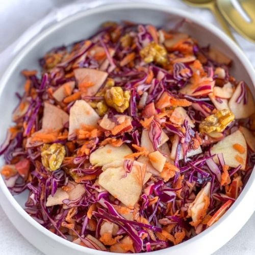 Red Cabbage slaw + CANDIED WALNUTS