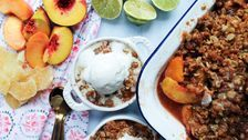 Peach Crumble With Gingersnap Topping And Candied Ginger