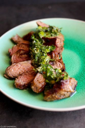 PAN FRIED STEAK WITH CHIMICHURRI SAUCE