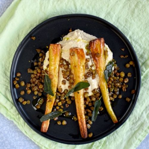 Parsnips with cannellini bean puree