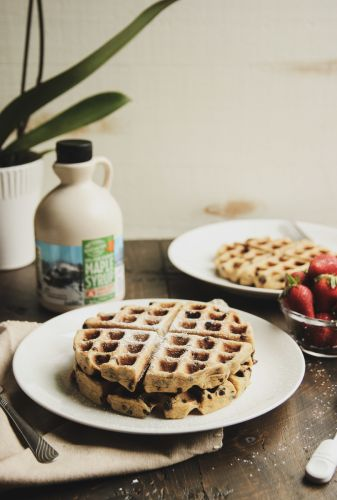 Healthy Chocolate Chip Oatmeal Waffles