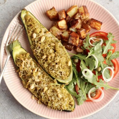 Quinoa stuffed courgettes