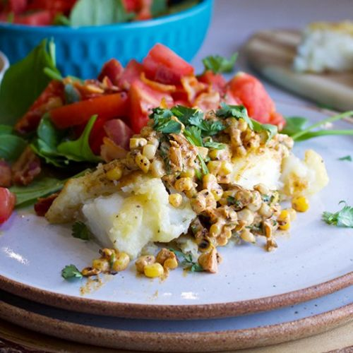 Skillet Cod with Creamy Corn Relish