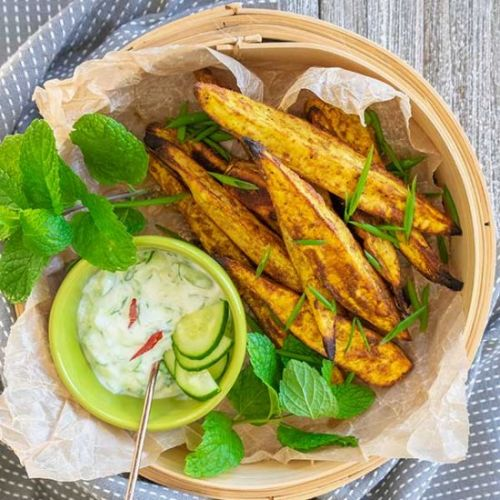 Tandori Roasted Sweet Potato Wedges