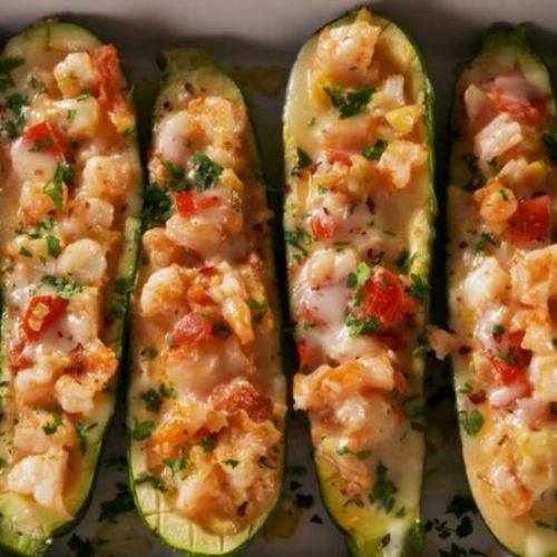 Low Carb Shrimp Zucchini Boats