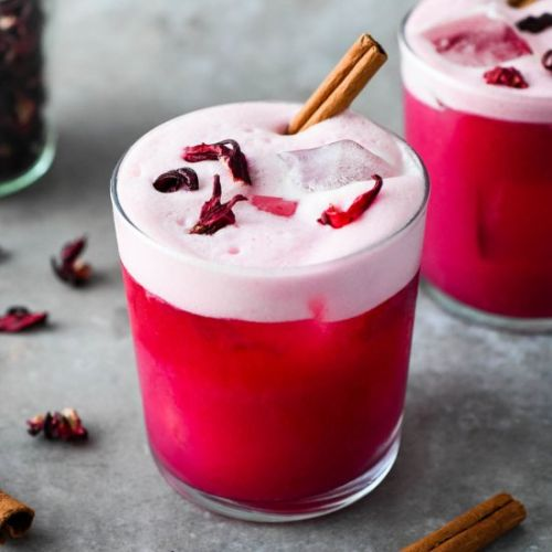 Spiced Hibiscus Vodka Sour Cocktail