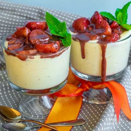 Banana Mousse With Strawberry
