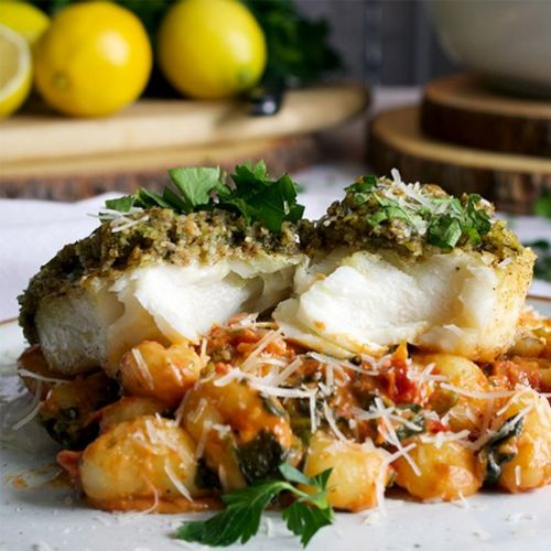 Pecan Crusted Halibut with Gnocchi