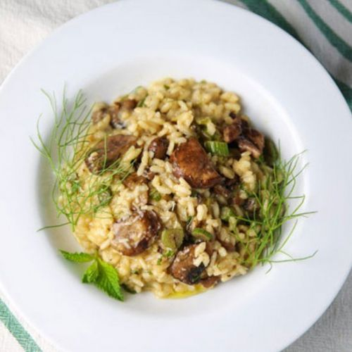 Fennel Mushrooms with Lemon Mint Risotto