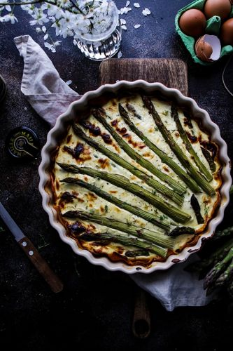 Spring Asparagus Quiche in a Sweet Potato Crust