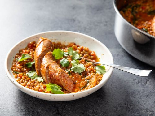 Cumin-Scented Lentils With Sausage and Dandelion Greens