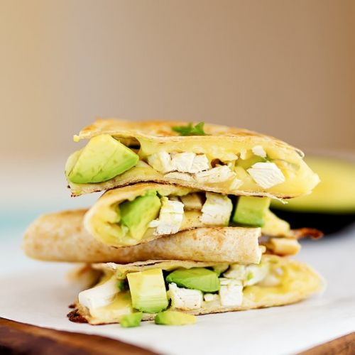 Chicken Avocado Cheese Quesadillas