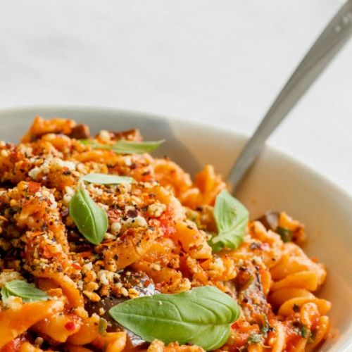 Pasta alla norma with almond crumb