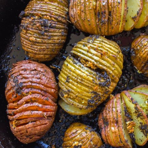 Sage and Garlic Hasselback Potatoes