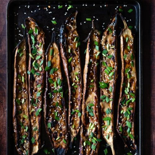 Ginger Miso Roasted Eggplant