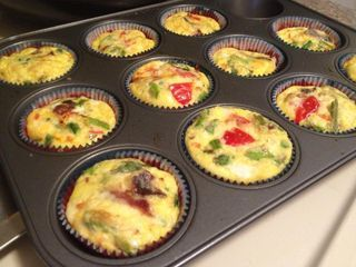 Bacon, Asparagus, Tomatoes, and Cheese Quiche Cupcakes
