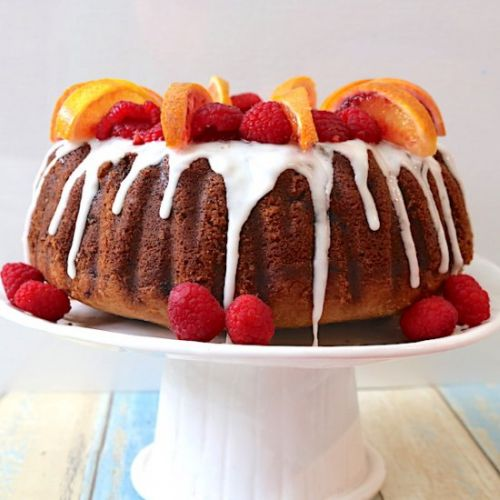 Raspberry & Blood Orange Bundt Cake