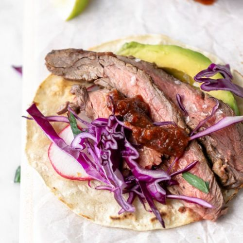 Grilled flank steak tacos