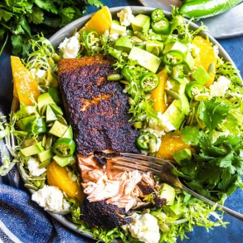Cajun Salmon + Avocado Orange Salad