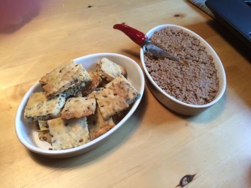 French Canadian Creton Pork Paté and Homemade Flax Seed Crackers