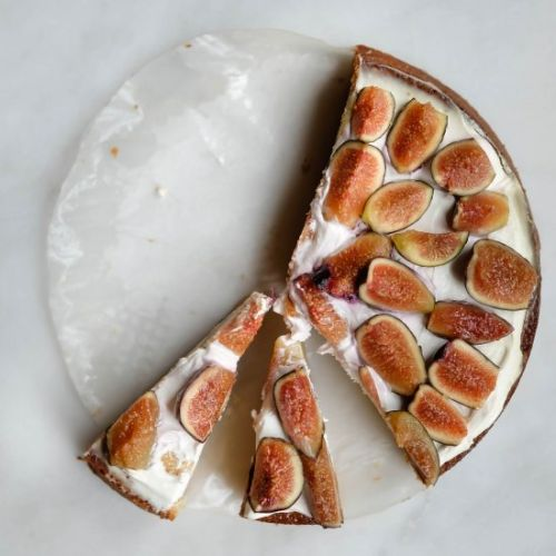 Olive oil cake with labneh and figs