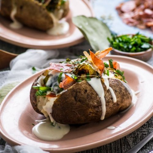 Baked Potato w Brussels Sprouts