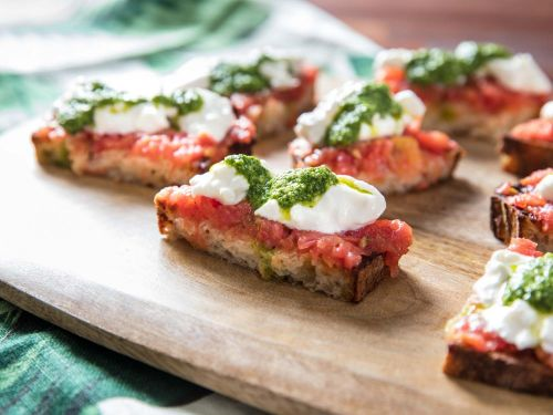 Sourdough Toasts With Tomato, Pesto, and Burrata