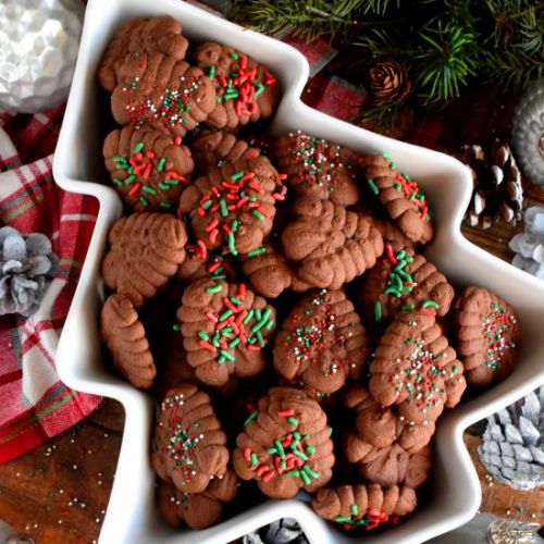 Christmas Chocolate Spritz Cookies